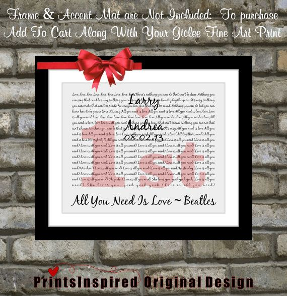 Unique First Wedding Anniversary Gift Idea Custom Song Love Is All You Need Lyric Art Home Wall Print