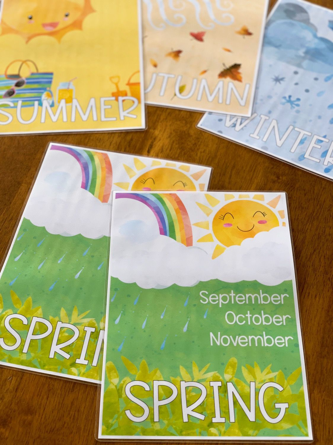 Watercolour Editable Seasons Posters With Images