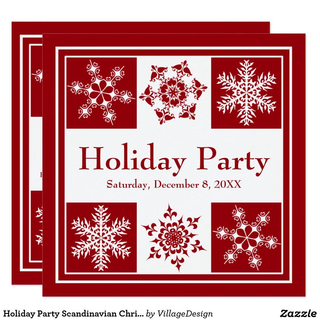 Holiday Party Scandinavian Christmas Smorgasbord Card | Christmas ...