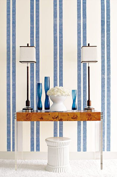 Schumacher Greek Key Stripe Wallpaper Navy 5005361 Priced And Sold As 9 Yard Double Roll Striped Wallpaper Striped Walls Home Blue striped wallpaper for bathrooms
