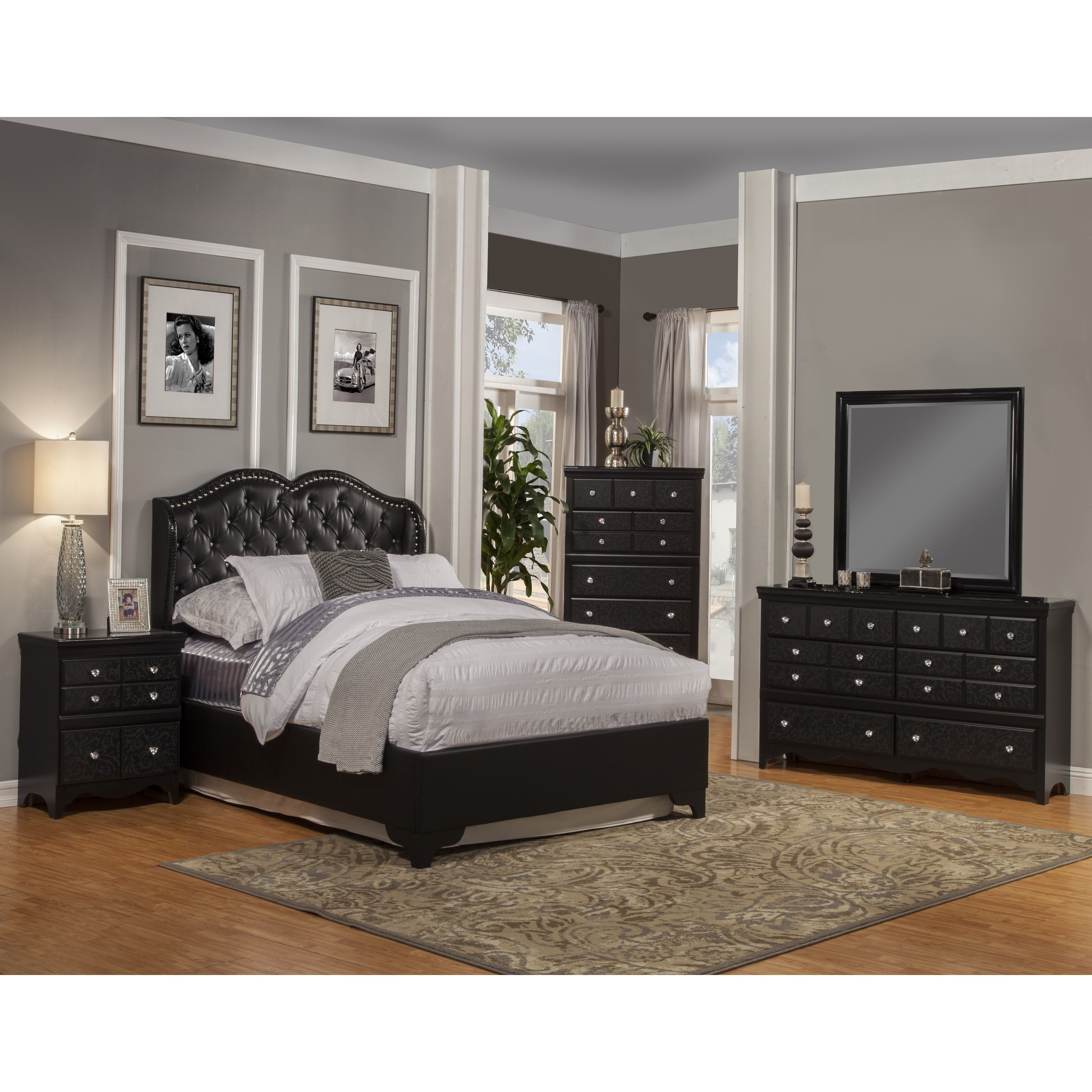 Traditional Furniture Traditional Black Bedroom To Add Elegance To Your Bedroom With The Eva Bedroom Collection This Collection Has Traditional Black Finish Complemented Vine Motif Enhau2026