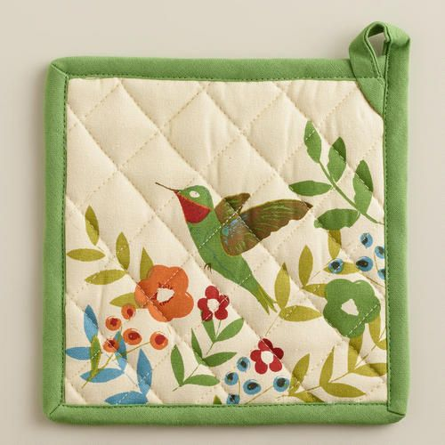 Our Woodland Birds Potholder features a colorful floral design and - solid green border