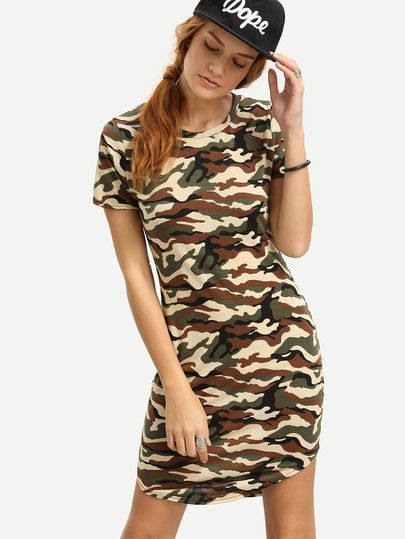 Olive Green Camo Print Sheath Dress