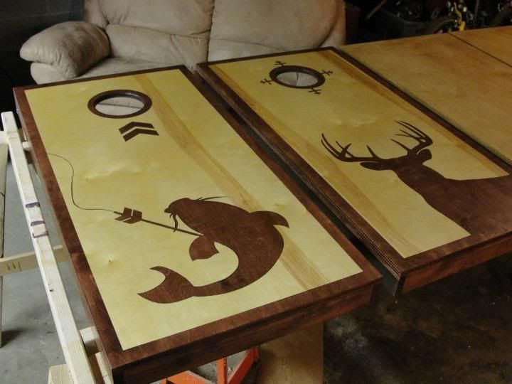 corn hole board designs ideas deer hunting and bow fishing cornhole players - Cornhole Design Ideas