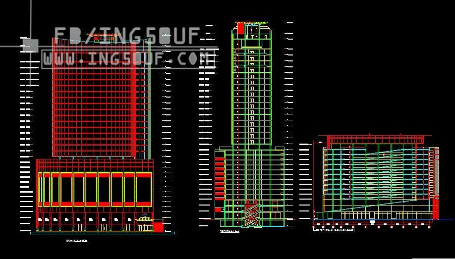 مخططات معمارية برج City Tower بتصميم مميز اوتوكاد Dwg مخططات معمارية برج City Tower بتصميم مميز اوتوكاد Dwg مخط Autocad Tower Autocad Drawing