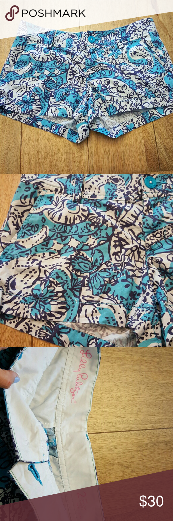 Lilly Pulitzer Walsh Shorts Butterflies Hidden butterflies and flowers. Light wear, just shows signs on the inside imprint, see 3rd photo. But great condition! Lilly Pulitzer Shorts