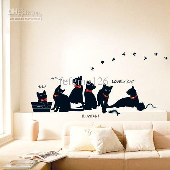 Black Cat WALL Sticker For Boys And Girlsu0027 Room