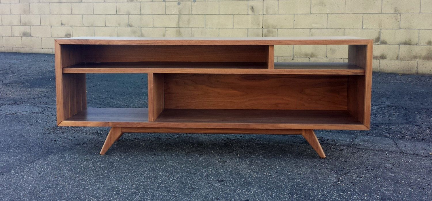 Mid century modern tv console tv stand bookcase by pmistudios on etsy https