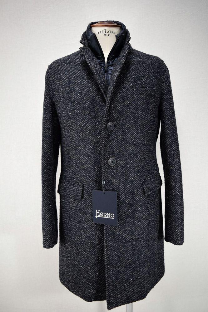 Dettagli su NWT HERNO TWEED CITY COAT cappotto uomo GIACCONE