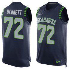 2016 Nike NFL Seattle Seahawks 72 Michael Bennett Steel Blue Men Stitched Limited Tank Top Jersey