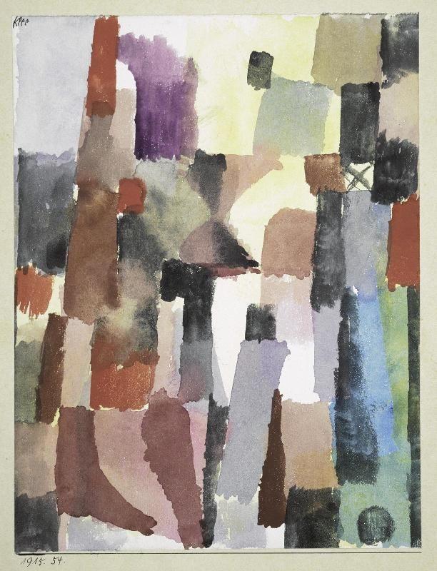 Paul Klee, Hochstrebende Stadt-Vision / Vision de cité ascendante, 1915 - aquarelle sur papier - 21,5 x 16,5 cm #expositionbeaubourg