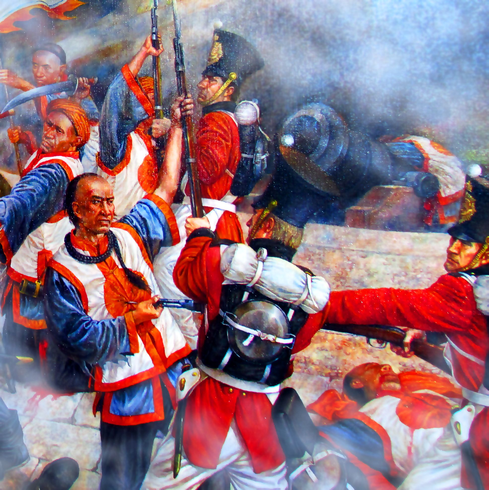 melee combat between qing chinese and british troops first opium  melee combat between qing chinese and british troops first opium war