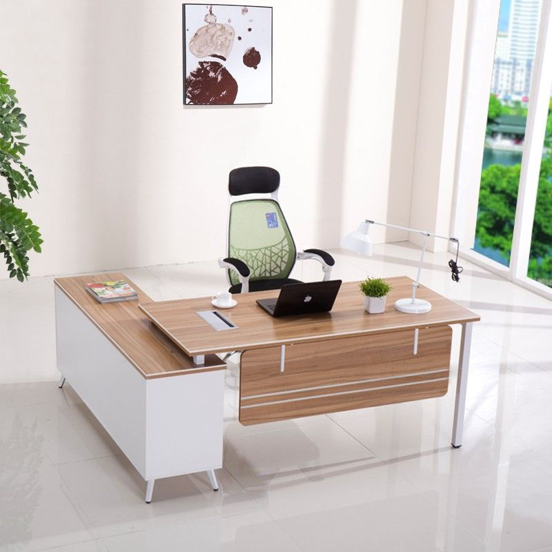 New design luxury modern boss office furniture l shape modern wooden ...