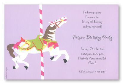 Carousel Horse Birthday Party Invitations 5167 kids parties