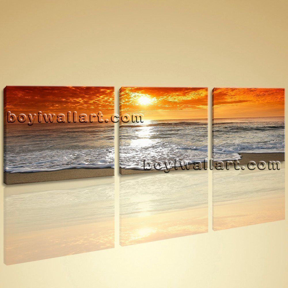 Large Contemporary HD Canvas Wall Art Print Sunset Seascape Living ...