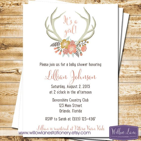 floral antlers baby shower invitation - coral girl baby shower, Baby shower invitations