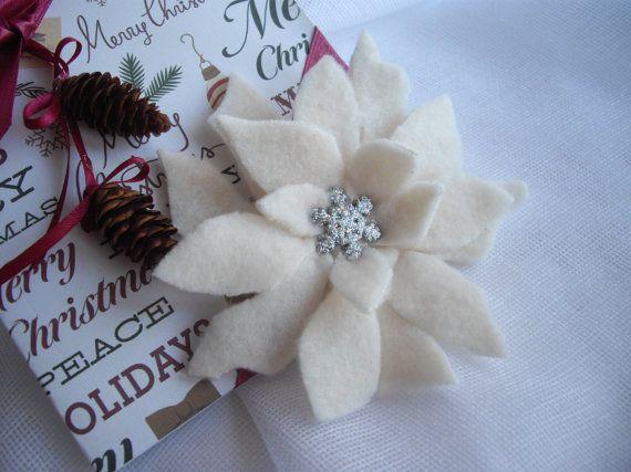 Winter White Poinsettia Hair Clip Home Fashion By Handcraftusa Poinsettia Hair Clip Statement Decor Floral Gifts