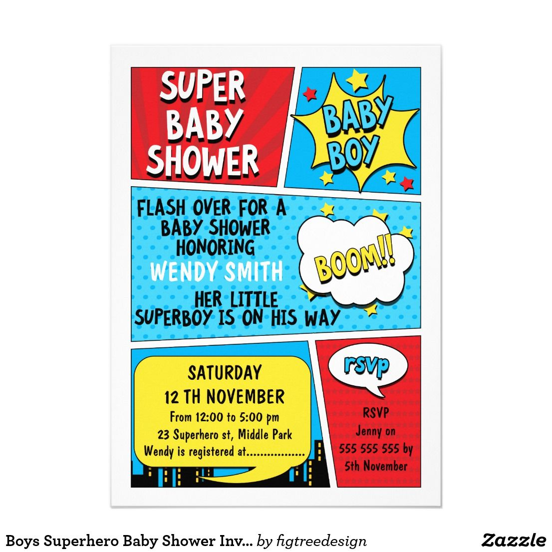 Boys Superhero Baby Shower Invitation | Williams 3rd B-Day ...