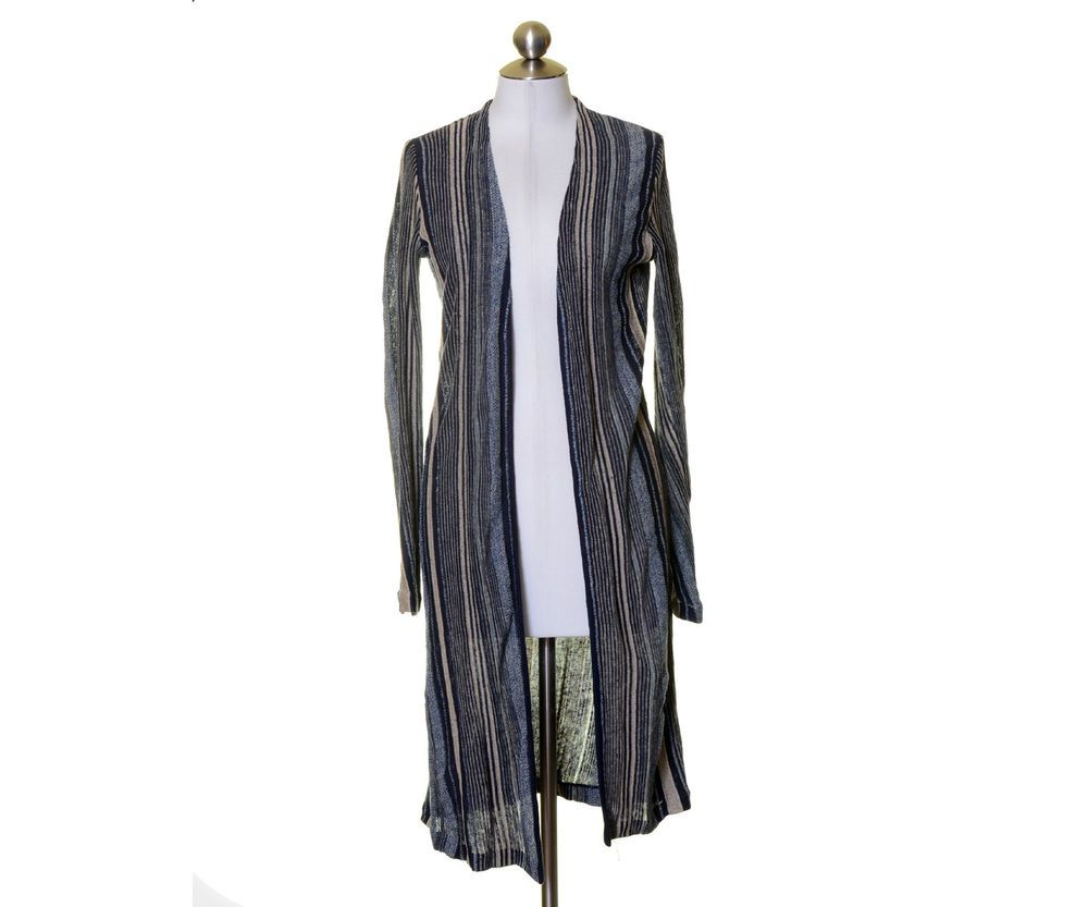 Ralph Lauren Black Label Navy Blue Beige Striped Long Cardigan ...