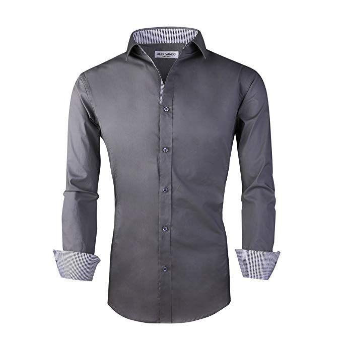 69a0c01d711 Alex Vando Mens Dress Shirts Regular Fit Long Sleeve Men Shirt (Grey ...