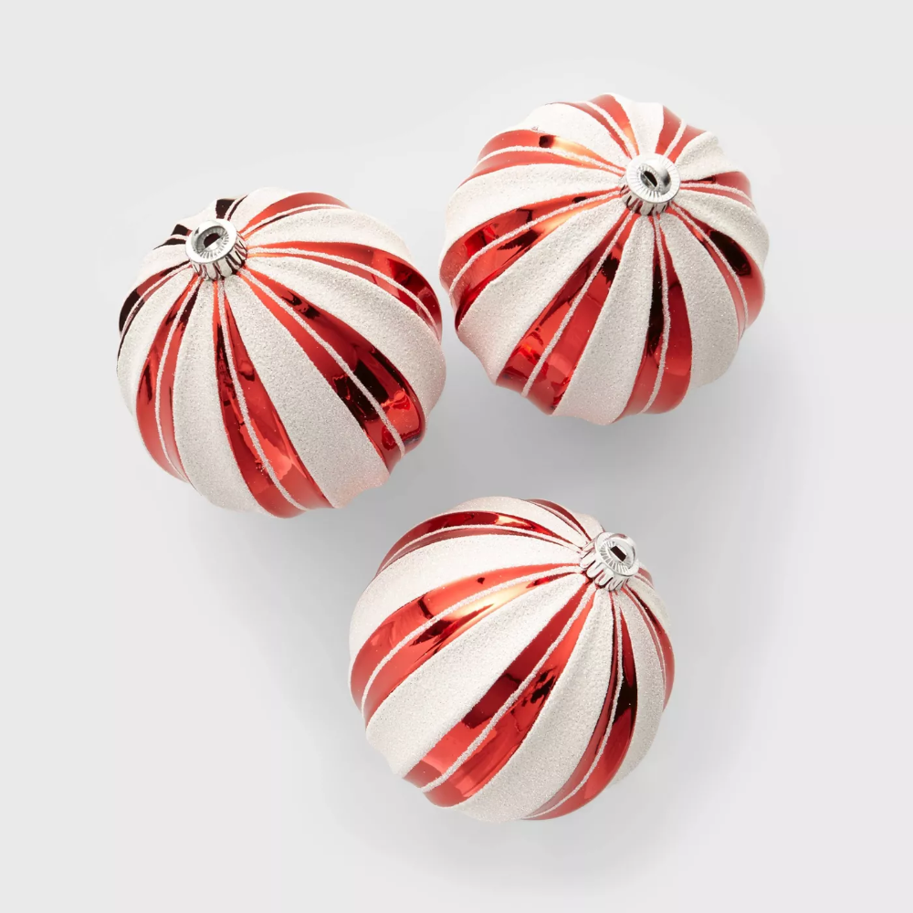 3ct Large Christmas Ornament Set Red And White Stripes