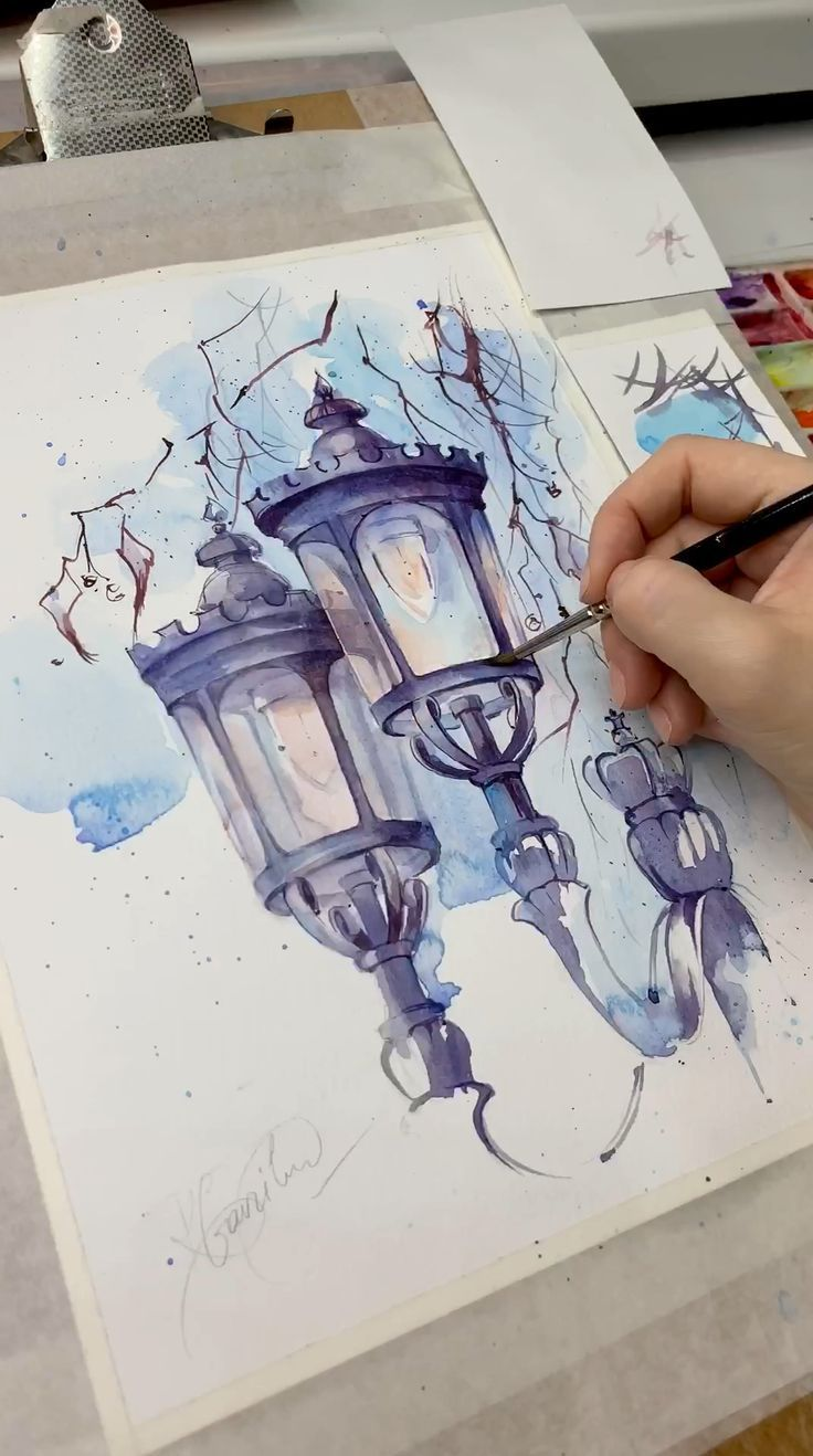 The original watercolor drawing The lanterns in Lo