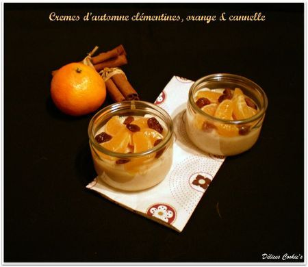 Crèmes d'automne clémentines, orange & cannelle
