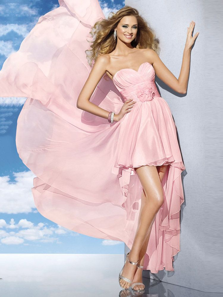 A-line Sweetheart Chiffon Asymmetrical Sleeveless Ruffles Cocktail ...