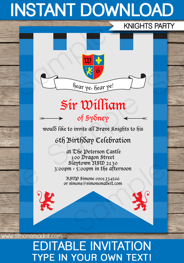 Knight Party Invitations Template
