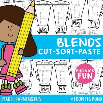 Blends Cut Sort Paste Worksheets Consonant Blends Student