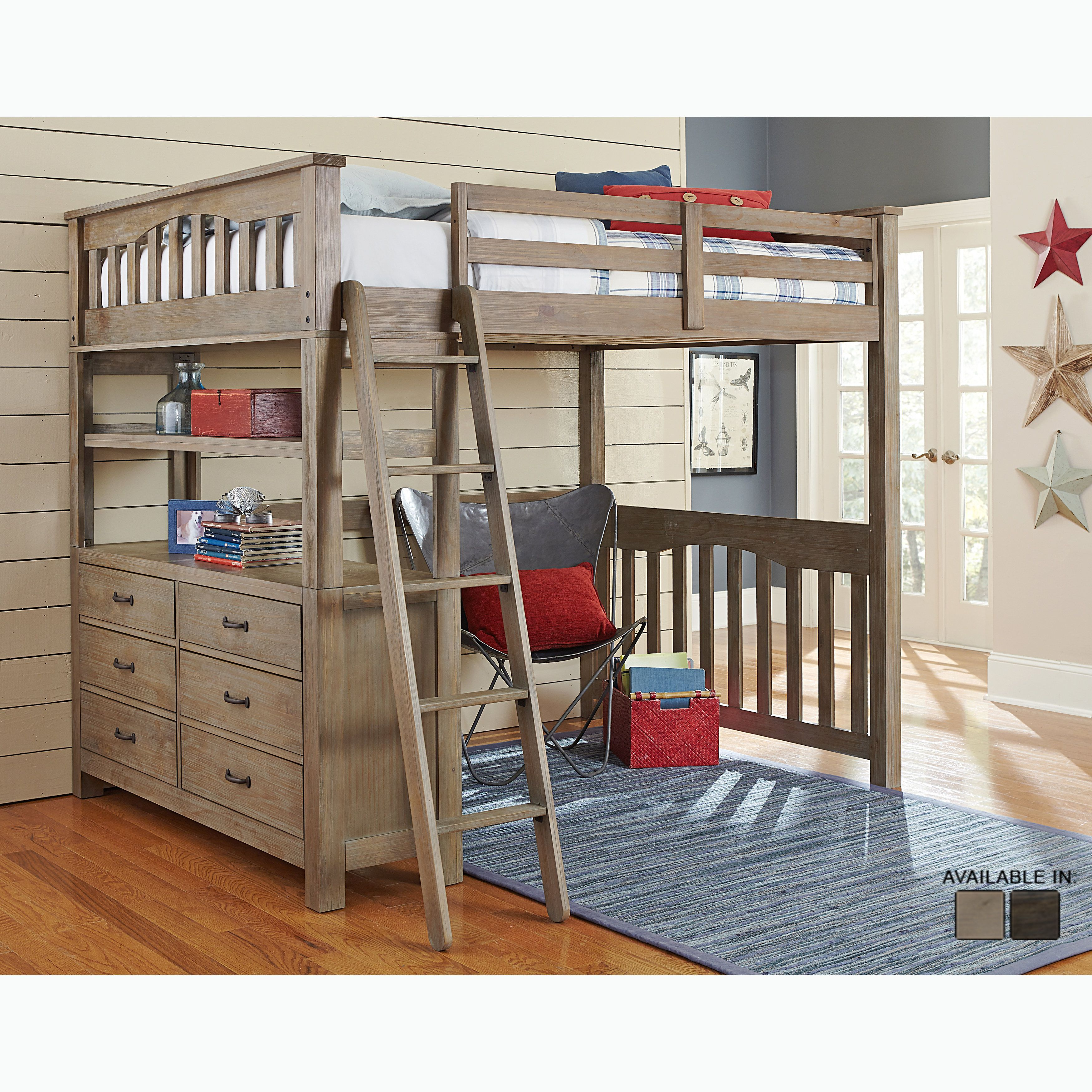 Double loft bed with desk  NE Kids Highlands Collection Pine Driftwood Brown Full Loft Bed