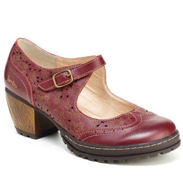 Womens Jambu Leather Deep Red Mary Janes Sorbet
