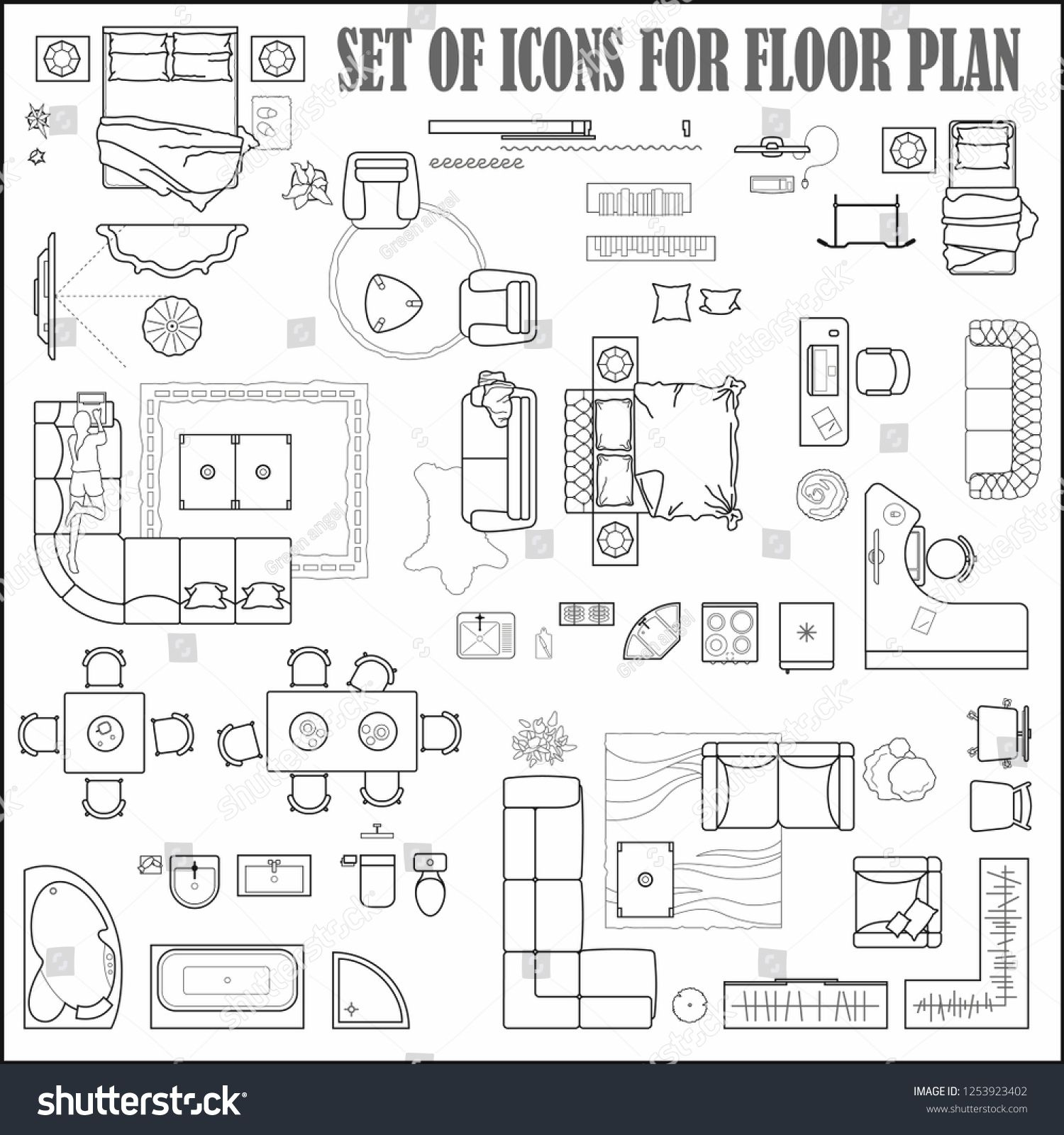 Floor Plan Icons Set For Design Interior And Architectural Project View From Above Furniture Thin Line Icon In Top View Icon Set Design Icon Set Floor Plans