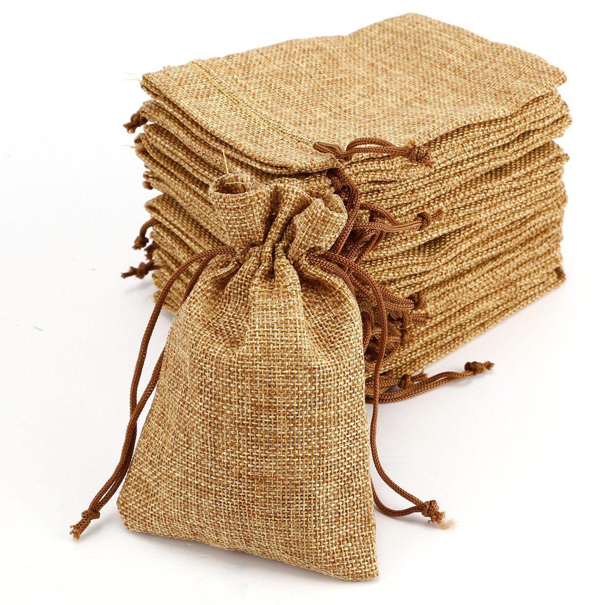 20pcs bolsa de organza arpillera bolsitas de yute bolsitas - Saco de arpillera ...