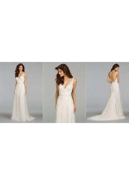 Spaghetti Strap Court Train Lace Sheath Column Wedding Dress Wjl0098