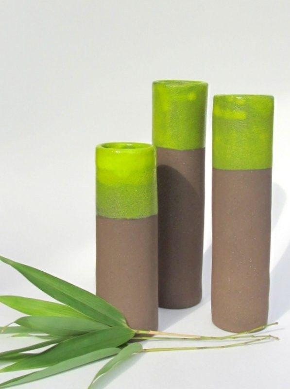 "Vases, ""Bamboo"" series 2016 (brown clay, yellow green glaze). New Ceramic Design by Studio Saskia Lauth / France - www.saskia-lauth.com"