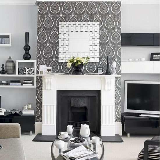 wallpaper living room gray - Google Search