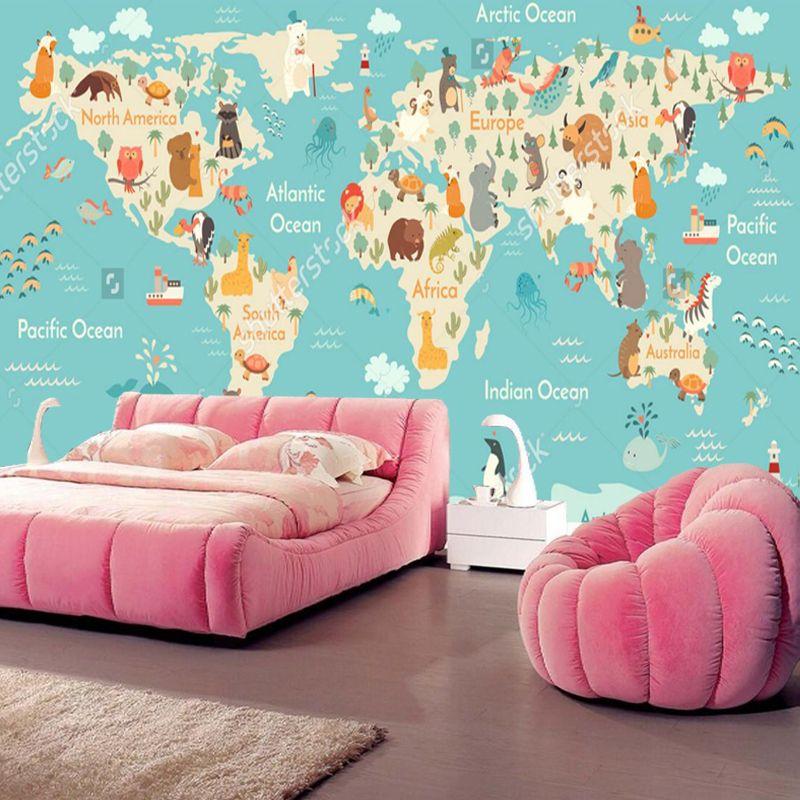 pas cher personnalis enfants papier peint bande dessin e. Black Bedroom Furniture Sets. Home Design Ideas