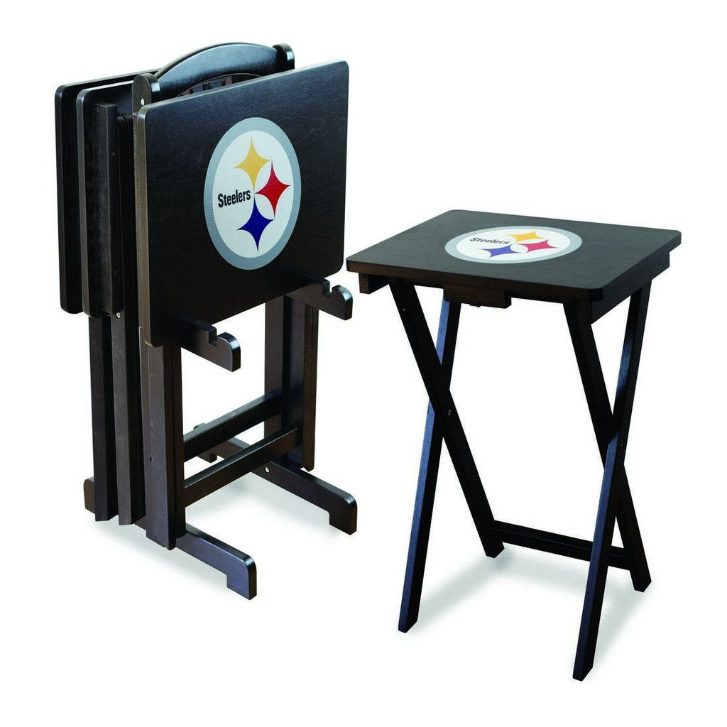 The Pittsburgh Steelers TV Trays With included Stand are great for your Steelers Man Cave as well as extra table space when at the beach, tailgating or camping.