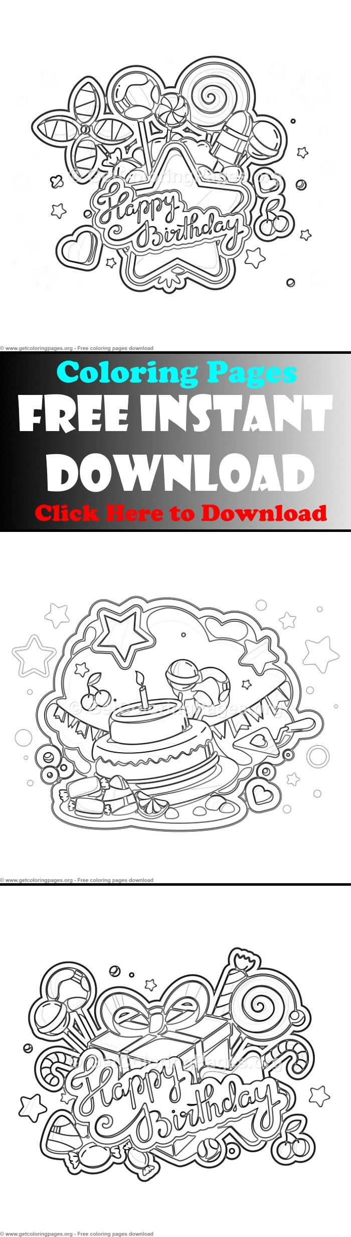 Free to download birthday card coloring page,printable ...
