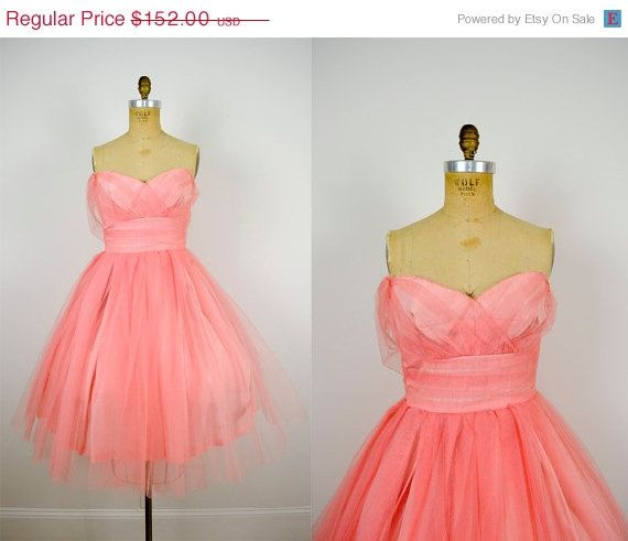 SHOP SALE 1950s prom dress / 50s tulle strapless by ManicVintage ...