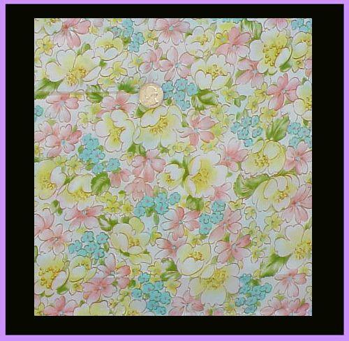 Vintage 1960s Sewing Fabric 4 Yards Crisp Nylon Pastel Flower Print Material