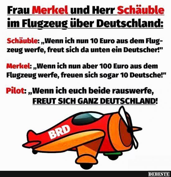Frau Merkel Und Herr Schauble Im Flugzeug Uber Deutschland