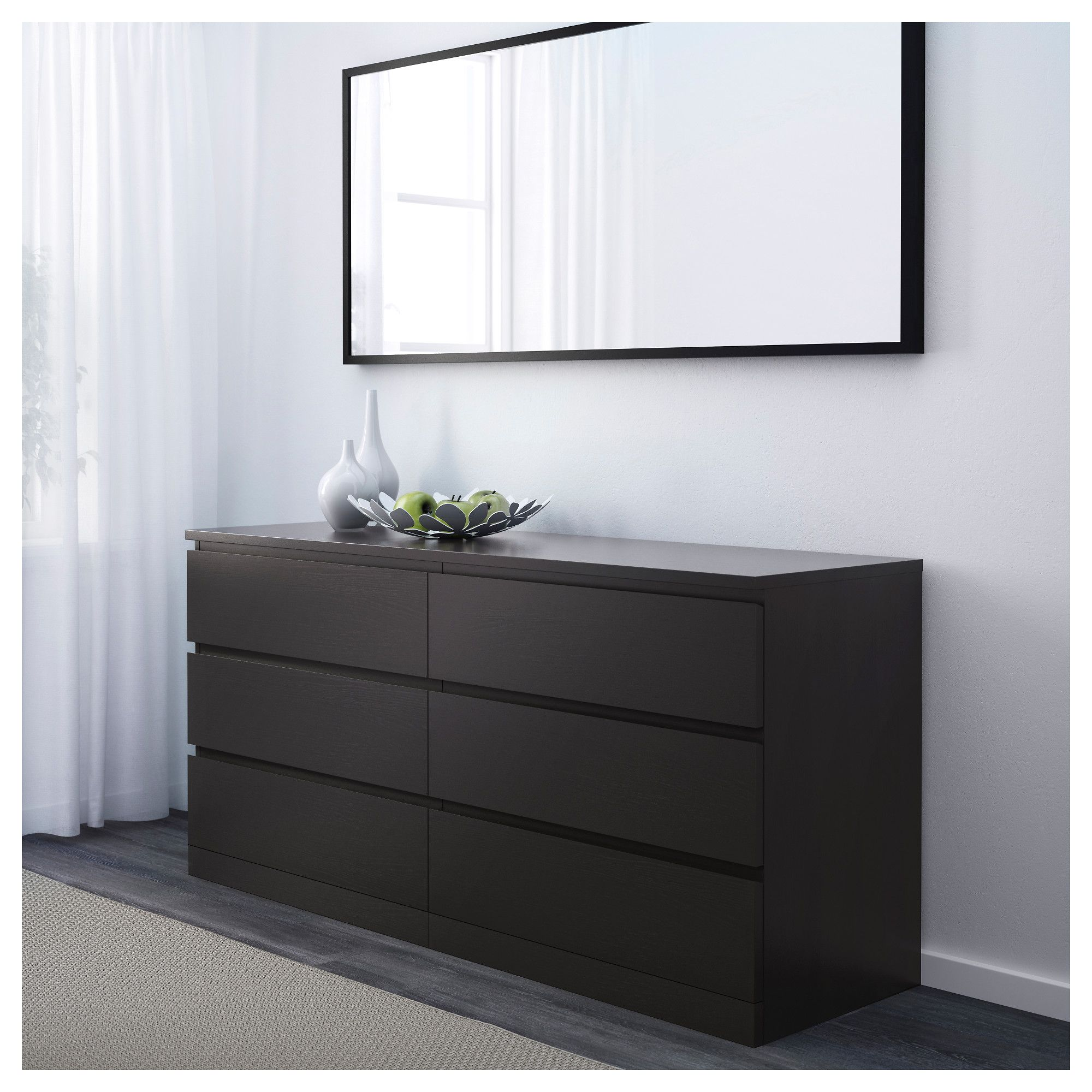 Malm 6 Drawer Dresser Black Brown 63x30 3 4 160x78 Cm