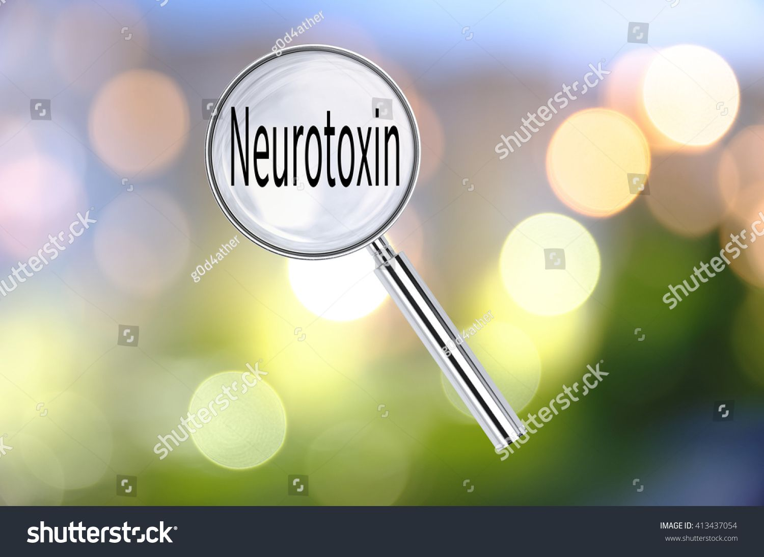 Magnifying lens over background with text Neurotoxin, with the blurred lights visible in the background. 3D rendering. #Ad , #Aff, #background#text#Magnifying#lens