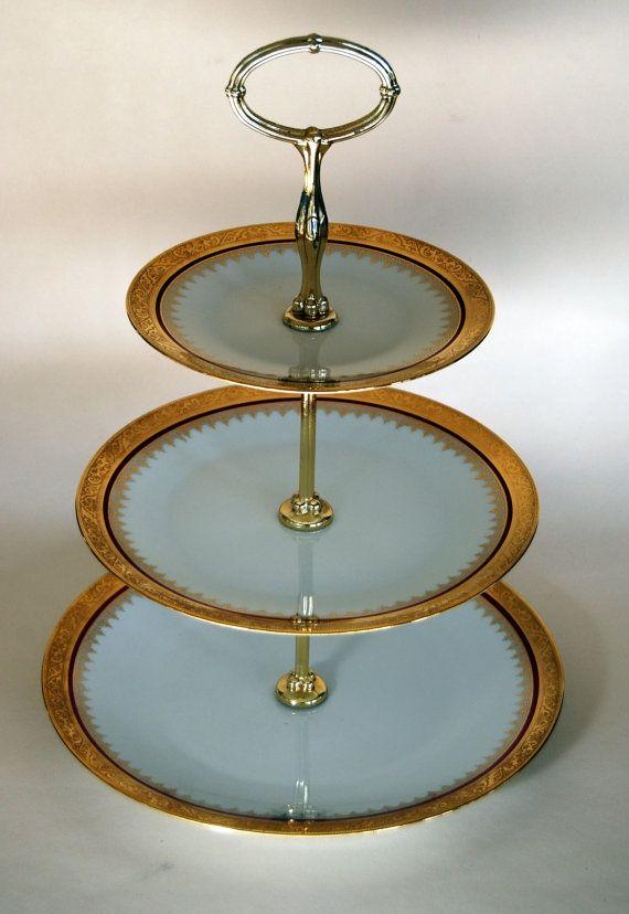 Vintage Retro French Porcelain Limoges 3 Tier Cake Plate Stand & Vintage Retro French Porcelain Limoges 3 Tier Cake Plate Stand ...