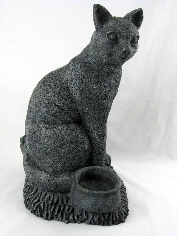 Exceptional Black Cat Garden Statue Vintage Stone Cast By UdderlyGoodStuff, $149.95