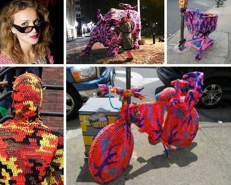 When it comes to knit graffiti, yarn bombing or urban knitting, NYC-based artist and crochet queen Agata Oleksiak (known as Olek) has got it all sewn up!