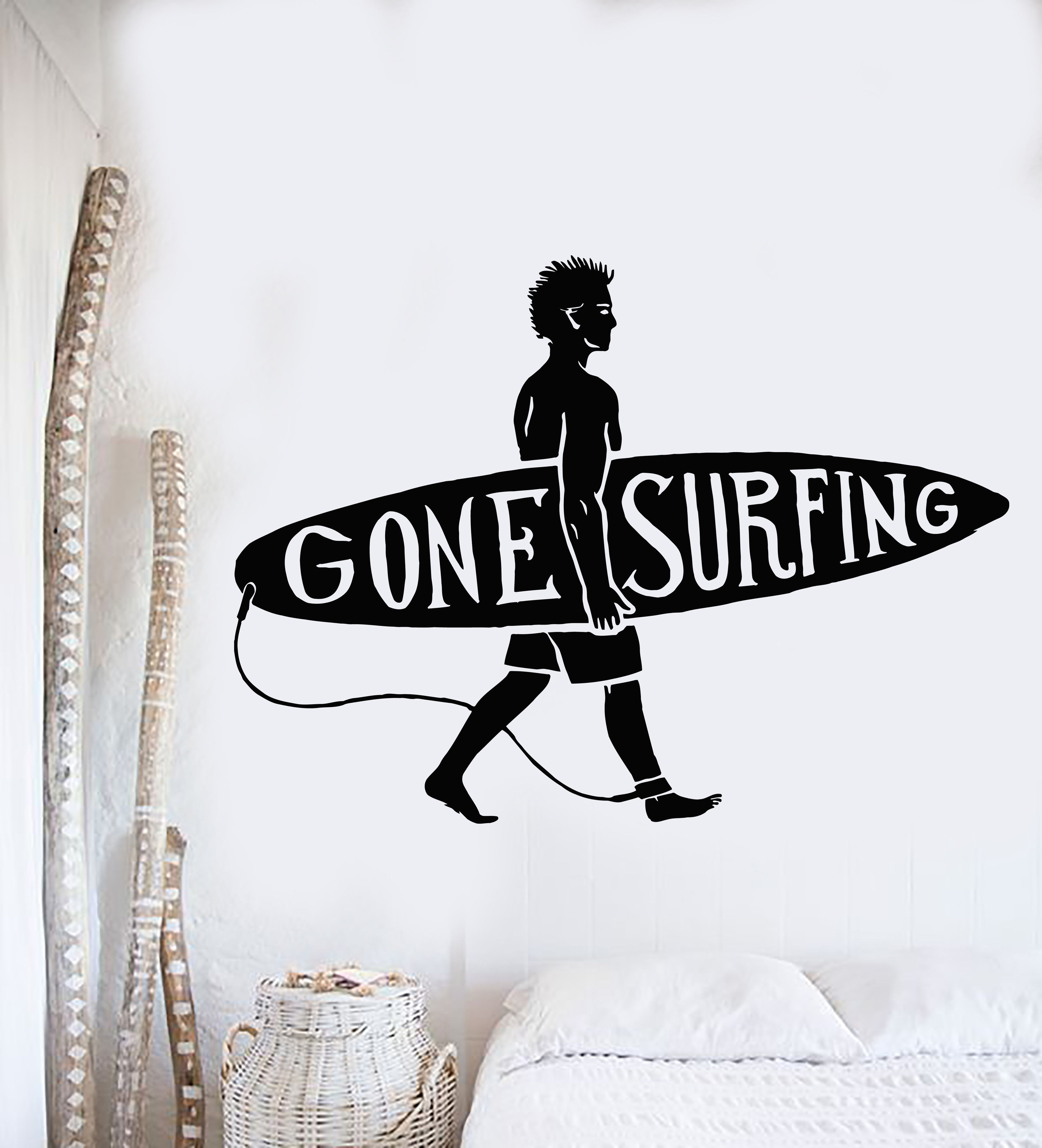 Vinyl Wall Decal Surfing Guy Surf Beach Surfer Quote