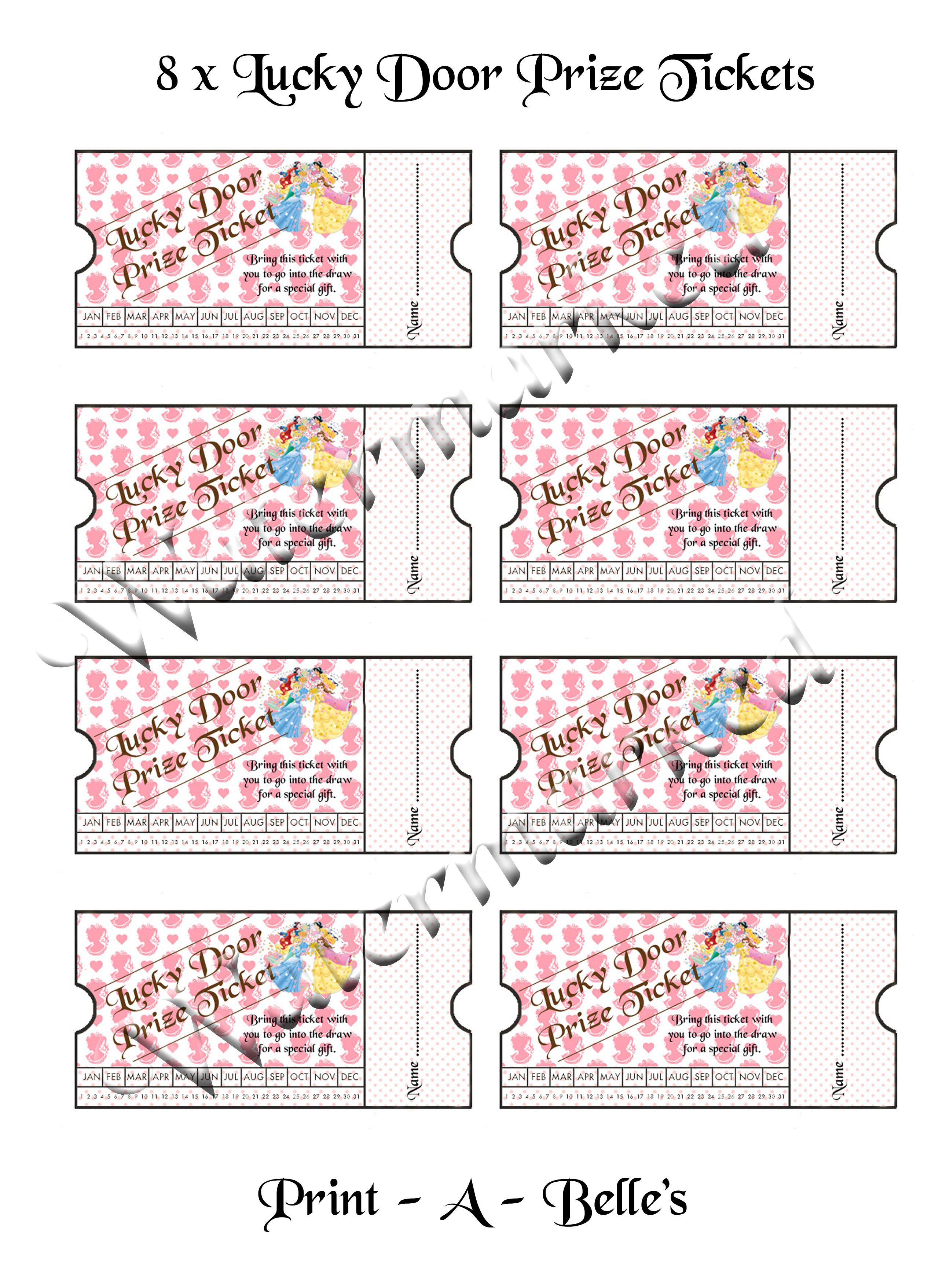 lucky door prize tickets fit for a princess birthday party lucky door prize tickets fit for a princess birthday party